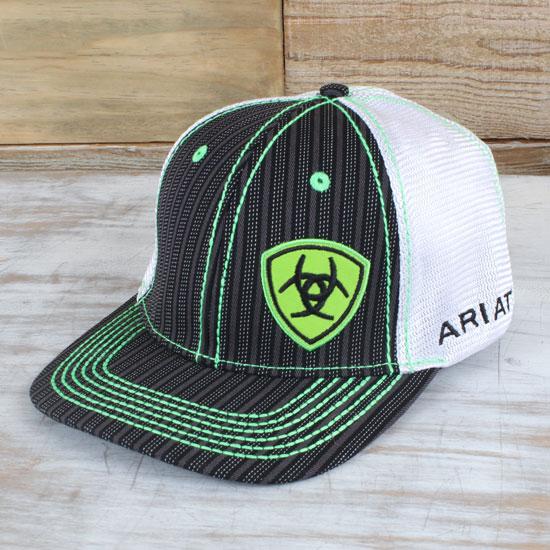Twisted X Trucker Style Snapback Black White /& Neon Green Striped Cap