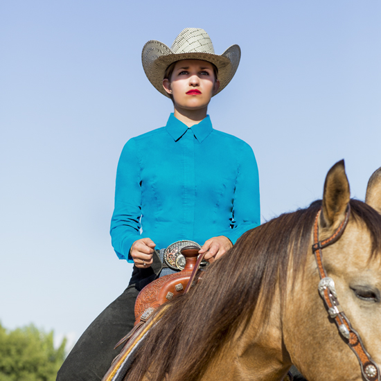 Perfect Fit Turquoise Show Blouse