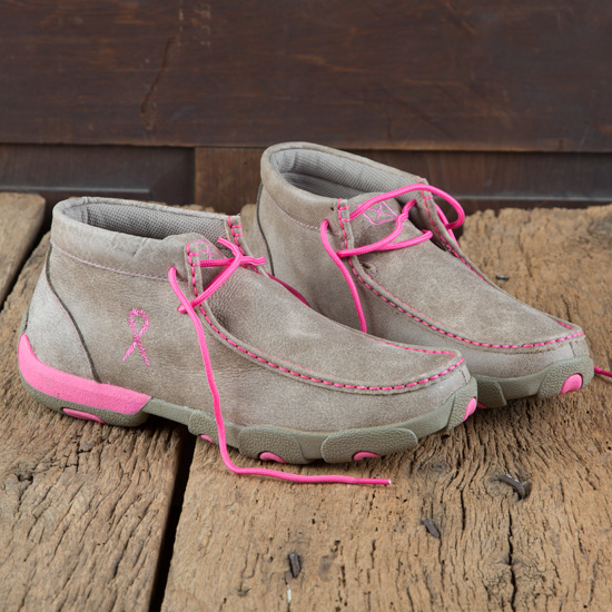 Twisted X Ladies' Pink Ribbon Moccasin