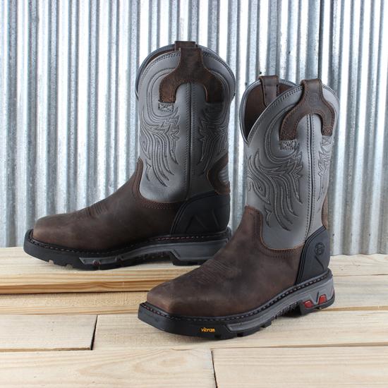 Justin Grey Square Toe Work Boot