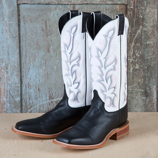 40f740a31 Justin Black and White Bent Rail Boot
