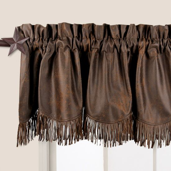 Distressed Brown Fringed Valance