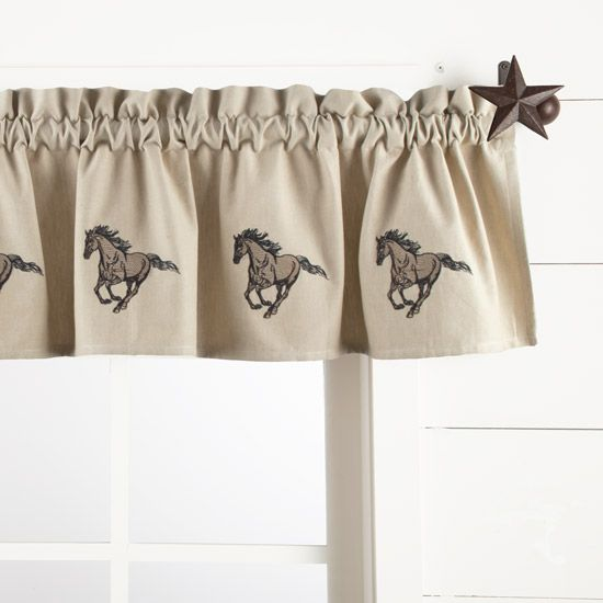 "Galloping Horse Embroidered Lined Valance 10""x14"""