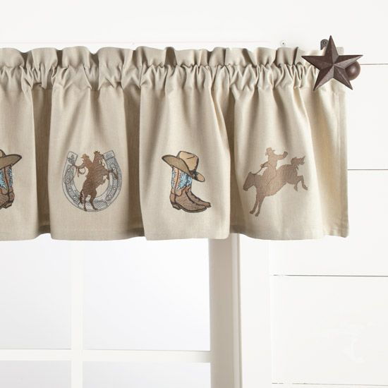 Western Boot and Cowboy Embroidered Lined Valance 60x14