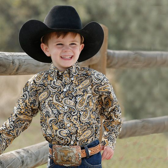 Cinch Yellow Punchy Paisley Infant Shirt