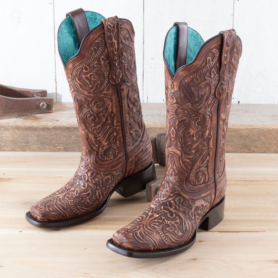 Corral Brown All over Tooled Boots
