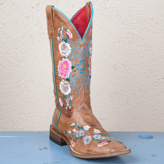 Macie Bean Square Toe Honey Floral Boots