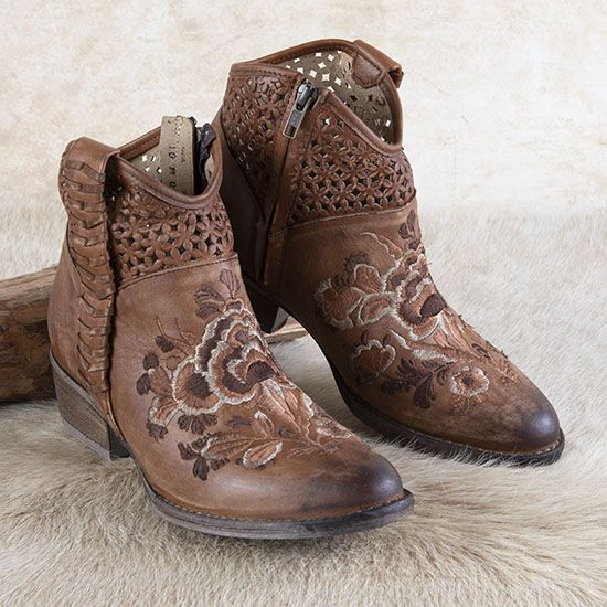 Circle G Floral Embroidered Booties