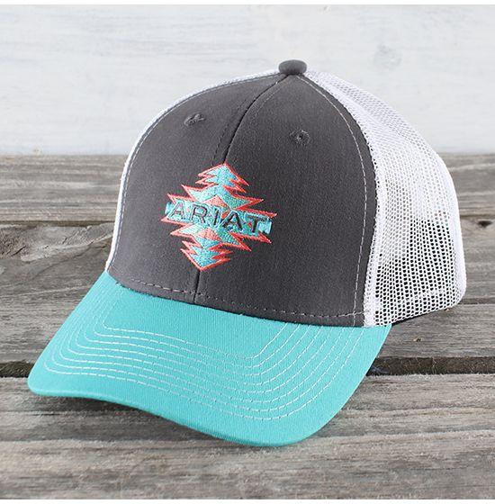 ARIAT Gray Turq AZTEC ~ YOUTH Baseball CAP ~ Mesh Back Adjustable Snap-Back