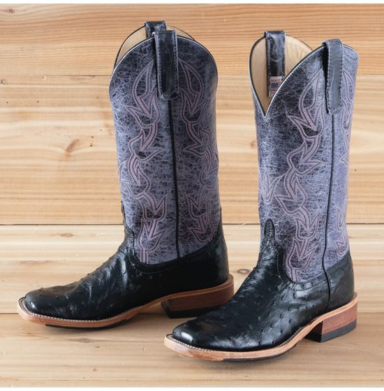 Rods Black Ostrich Skid Row Boots By Anderson Bean