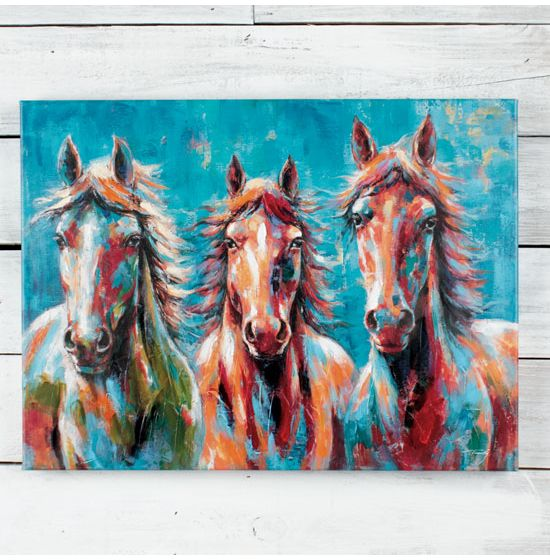 Three Horses Coloured bright  Canvas Wall Art Picture Print