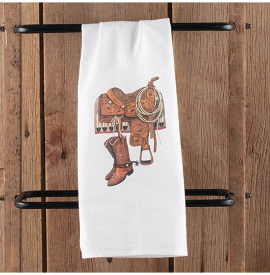Saddle With Boots Tea Towel