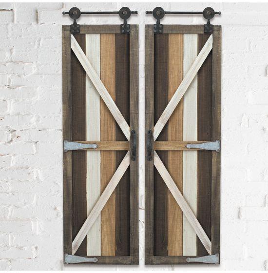 Wood Barn Doors Wall Decor Set Of 2