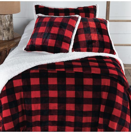 Welcome To The Lumberjack Red Buffalo, Red And Black Plaid Queen Bedding