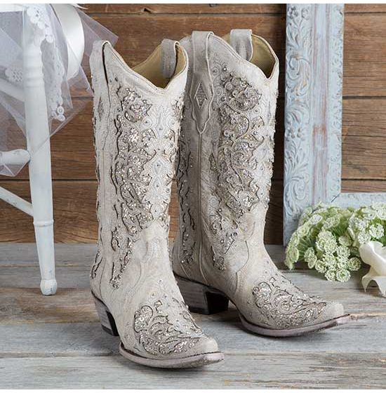 Tan and White Glitter Inlay Boots With Crystals by Corral
