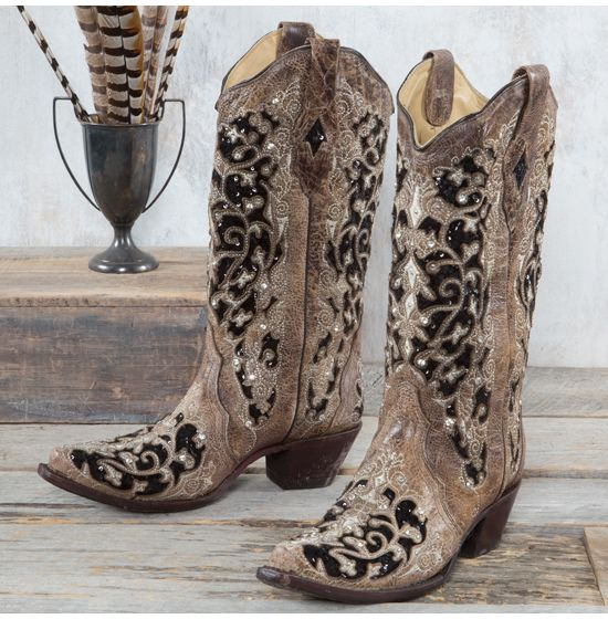 Corral Brown Inlay Floral Embroidery and Studs Boots