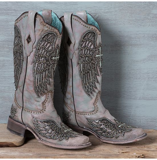 Corral Turquoise Cross and Wing Boots