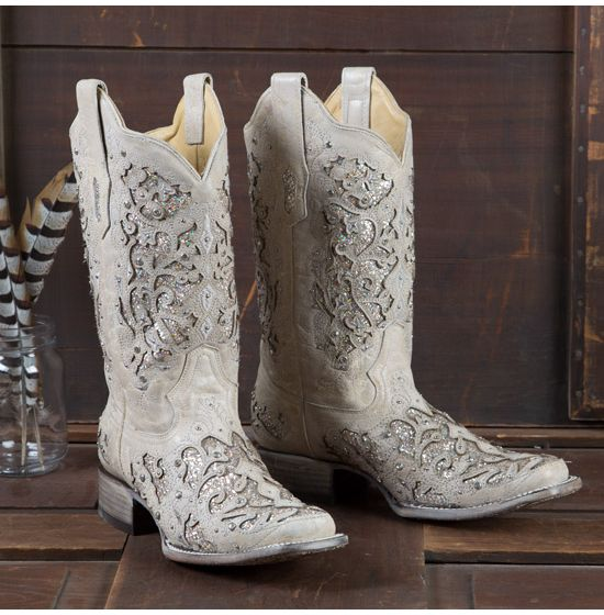 Corral White Glitter Inlay and Crystals Square Toe