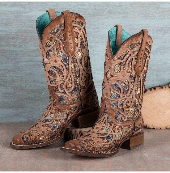 Corral Multi Color Glitter Boots