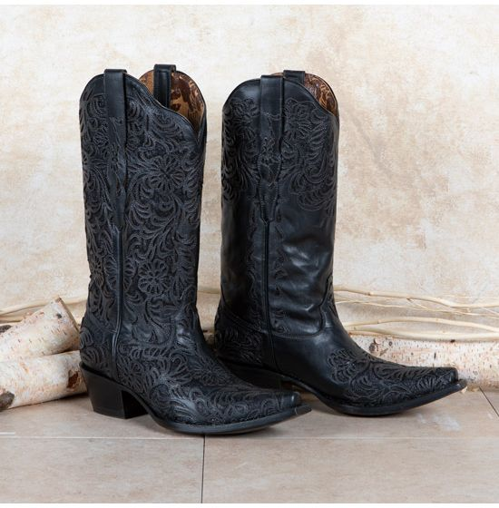 Corral Black Overlay Snip Toe Boots