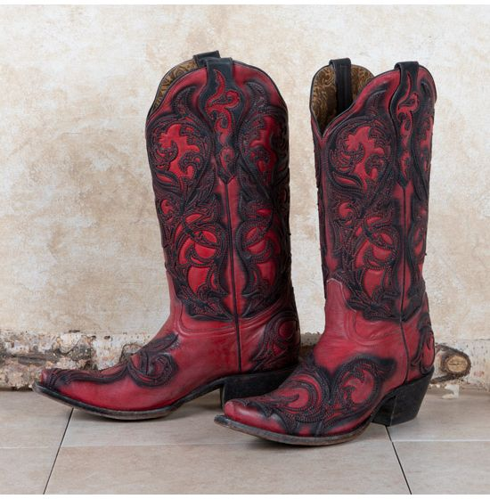 Corral Red and Black Snip Toe Boots