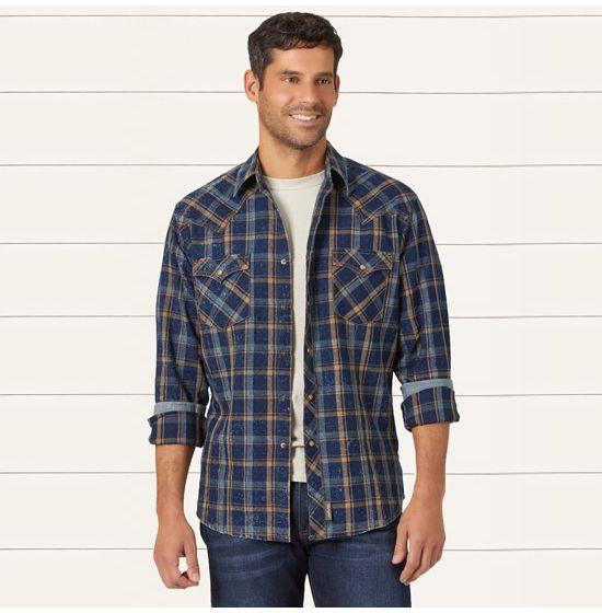 Wrangler Boys Retro Long Sleeve Two Flap Pockets Snap Front Shirt