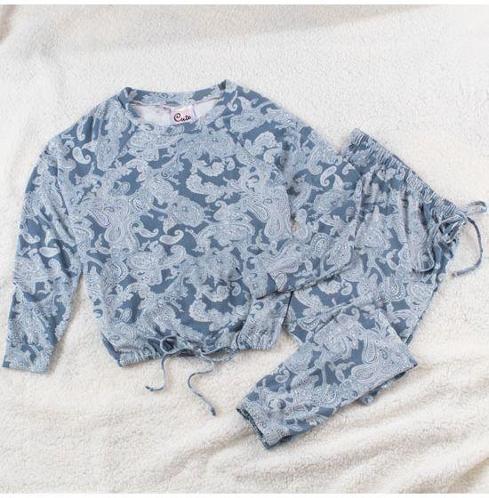 Daydreaming Long Paisley Loungewear Set