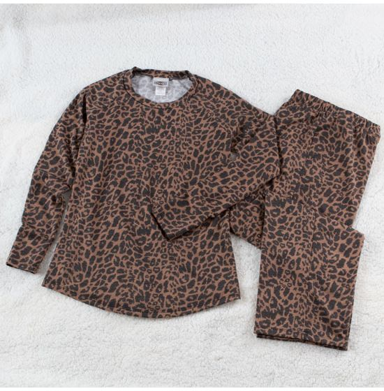 Welcome To The Wild Leopard Print Long Loungewear Set