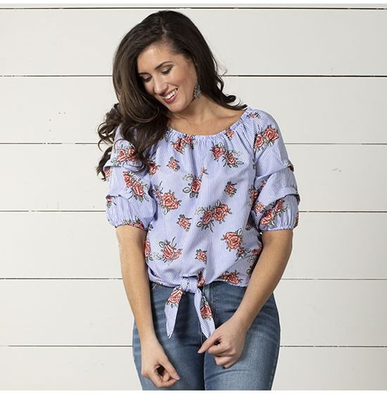 Cowgirl Floral Blues Top