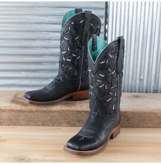 Corral Black Smooth Ostrich Boots