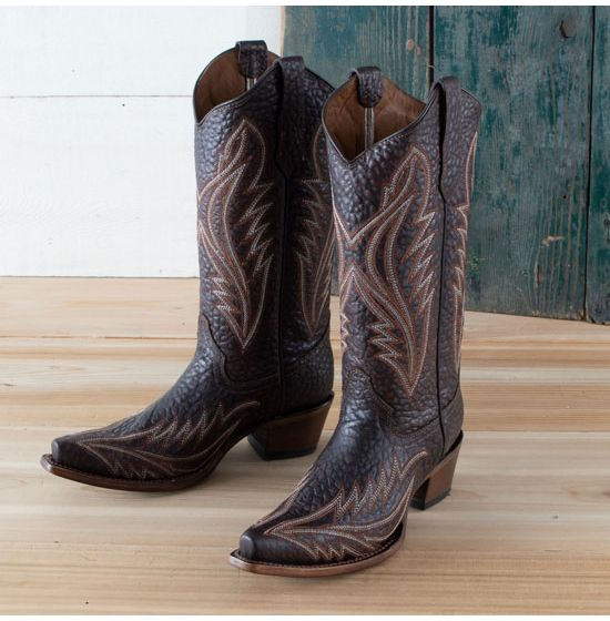 Circle G Brown Embroidered Snip Toe Boots