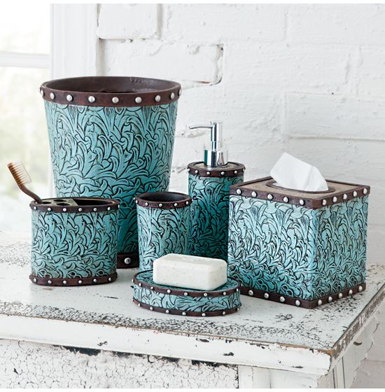 Turquoise Flower Bath Collection