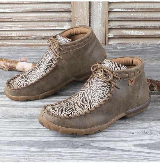 Twisted X Light Brown Tooled Moc